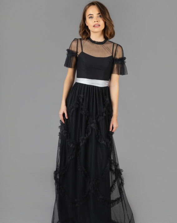 Hyra Needle & Thread - Shirring Detail Tulle Maxi Black Gown