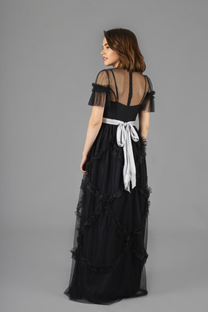 Rent Needle & Thread - Shirring Detail Tulle Maxi Black Gown