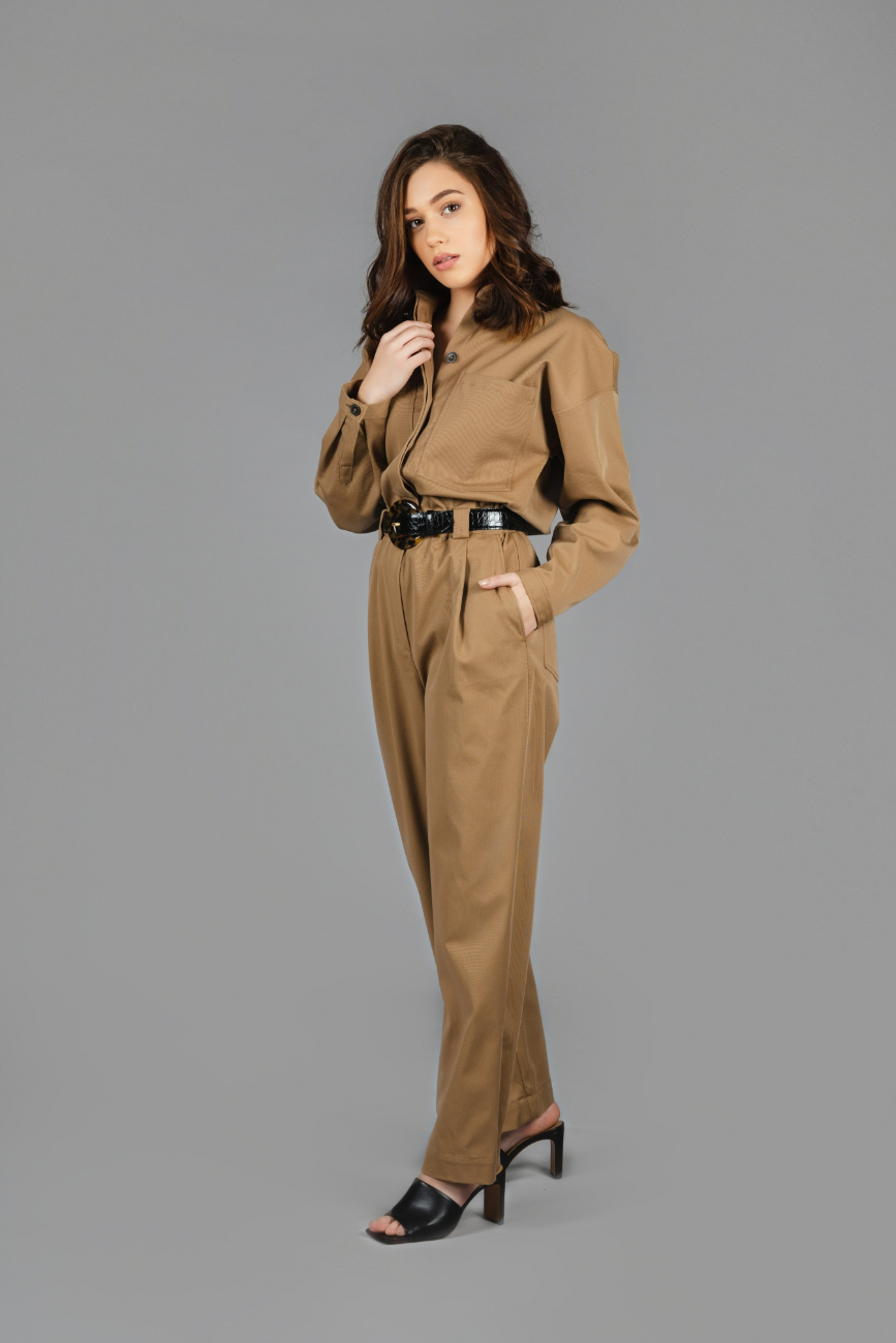 Massimo Dutti - Cotton lyocell jumpsuit with pockets