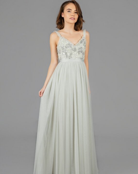 Hyra Needle & Thread - Sequin maxi dress in mint green