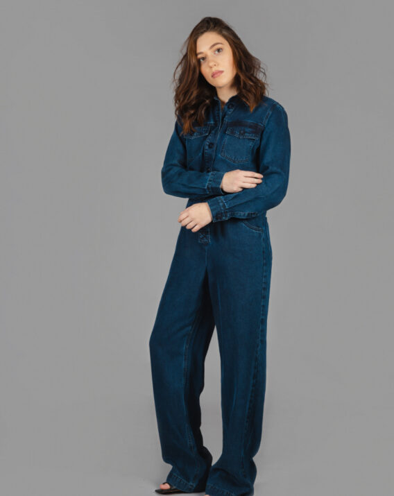 Massimo Dutti - Long sleeve lyocell jumpsuit with belt